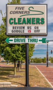 five corners cleaners sign